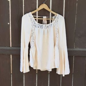 Others Follow cream bell sleeve top with lace